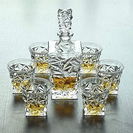 Decantador de Vino Cristal Juego De Decantores De Whisky, Decantador De Cristal Para Alcohol Con Tapón, Decantador De Vino De Diseño Cuadrado - 750 Ml De Decantador Y 320 Ml De Gafas Decantador de Vin