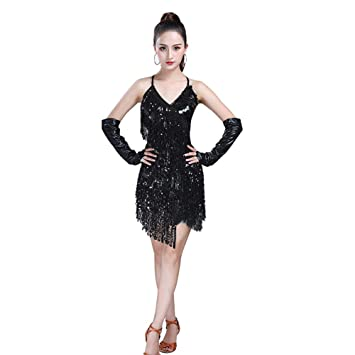Gtagain Latino Danza Abiti Frange Vestito Donna - Paillettes Gonna Senza  Maniche Halter Nappa Dancewear Costume Tango Ballo Performance  Abbigliamento ... 947d54981ed