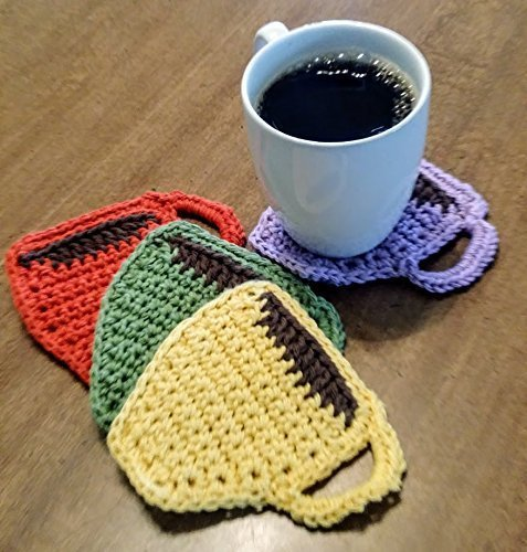 Hand Crocheted Coffee Cup Coasters and Mini Potholders, set of 4, double thick cotton, reversible, vintage retro kitchen colors (avocado, harvest gold, burnt orange, mauve (Crocheted Pot Holder)