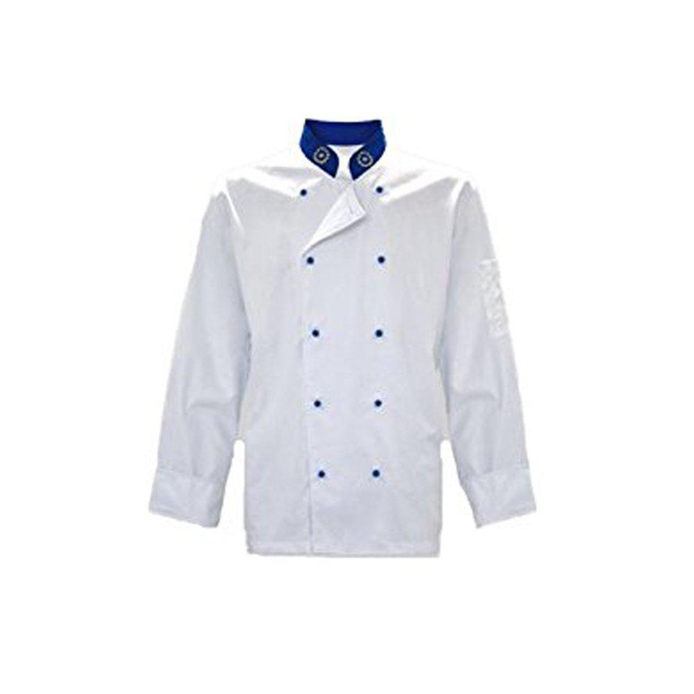 Fratelliditalia Giacca casacca cuoco chef modello europeo cotone bianco e bottonicini blu