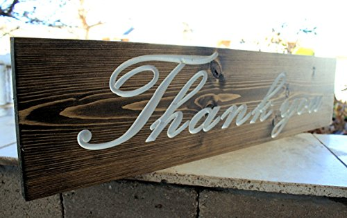 "Wedding ""THANK YOU"" Sign - Date Sign - Rustic Save The Date Sign - Engagement Photo Prop - Personalized Sign (CDW-90)"