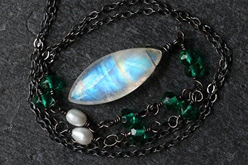 Moonstone Necklace, Moonstone Jewelry, Pearl Necklace, Rainbow Moonstone Pendant, Emerald Green Quartz, Oxidized Sterling Silver, Handmade