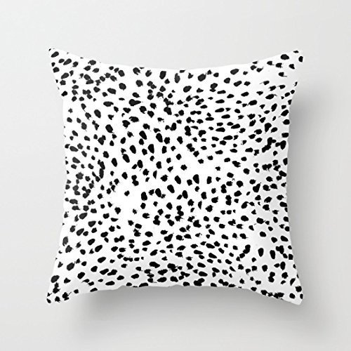 (JOQSI Throw Pillow Covers, Throw Pillow case, Cushion Covers, Nadia Black and White Animal Print Dalmatian Spot Spots Dots Bw Throw Pillow Case Cushion Cover 18 x 18 inches )