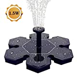 AMYER Solar Fountain, Solar Birdbath Fountain, Solar Fountain Pump, 1.5W Solar Panel Kit Submersible Water Pump, Water Fountain Pump for Pool, Pond, Garden, Fish Tank, Aquarium
