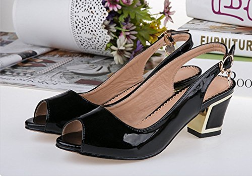 Easemax Moda Para Mujer Peep Toe Sólido Bajo Hebilla Hebilla Chunky Tacón Medio Sandalias Traseras Negro