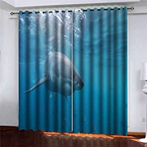 Window Darkening Curtains, Shorping Window Panels Curtains Living Room Curtains Great White Shark Neptune Islands South Australia Ocean Carcharias Indian Window Curtains for Bedroom 52X63 Inches, 2 Pc