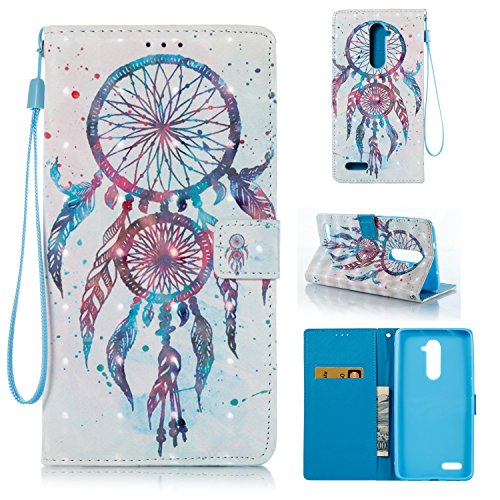 ZTE ZMAX Pro Case,HAOTP 3D Beauty Luxury Fashion PU Flip Stand Credit Card ID Holders Wallet Leather Case Cover for ZTE ZMAX Pro/ZTE Carry Z981 - Blue Dream Catcher Mandala Flowers