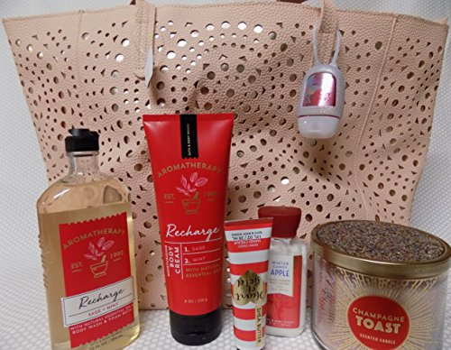 Large Winter 2017 Tote Purse W 7 Items Beautifully Topped Champagne Toast Candle, Aromatherapy Recharge Body Cream, Wash, Mini Lotion, and Hand Cream, Anti Bac Holder and Gel Valued 115.75