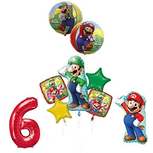 The ULTIMATE Super Mario Brothers and Luigi 6th Birthday Party Supplies Decorations -