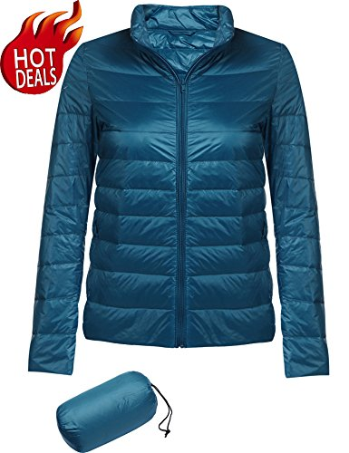 Beyove Women's Ultra-Lightweight Stand Collar Down Cotton Jacket Coat Blue S