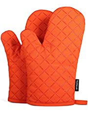 Oven Mitts Heat Resistant, Flexibility Non-Slip Kitchen Oven Gloves for BBQ, Baking, Barbecue, Cooking, 1 Pair