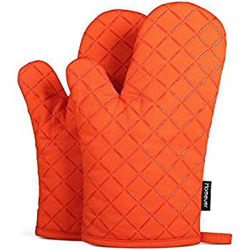 Homever Oven Mitts with Silicone, Heat Resistant to 464° F, Recycled Cotton Infill, Flexibility Non-Slip Kitchen Oven Gloves for Baking and Kitchen, 1 Pair (Orange)