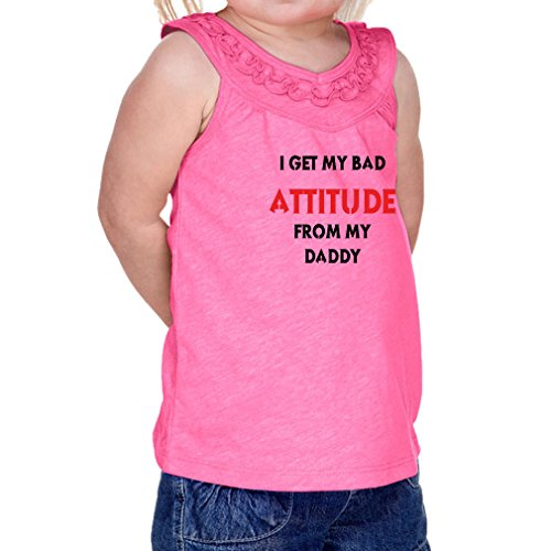 Cute Rascals I Get My Bad Attitude From My Daddy Infants 60/40 Cotton/Polyester Ruffle Yoke Tank Jersey - Hot Pink, 18 Months (Bad Attitude Girls T-shirt)