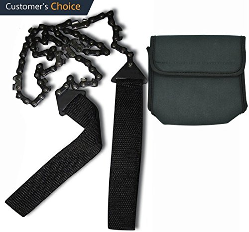 Af-Wan Pocket Chainsaw Cuts 3x Faster w/Blade on Every Link, Pocket Camping Survival Gear,27 Inch Saw Handsaw with Black Holster - Outdoor Kits for Camping Hiking Gardening and Outdoor Survival by Af-Wan