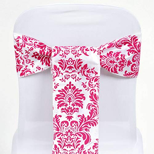 Mikash 50 pcs Damask Flocking Chair Sashes Bow Ties Party Wedding Banquet Decorations | Model WDDNGDCRTN - 12189 |