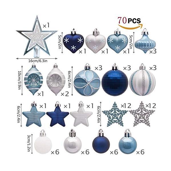 Valery Madelyn Palle di Natale 70 Pezzi di Palline di Natale, 3-10 cm Auguri Invernali Argento e Blu Infrangibili Palle di Natale Ornamenti Decorazione per la Decorazione Dell'Albero di Natale 2 spesavip