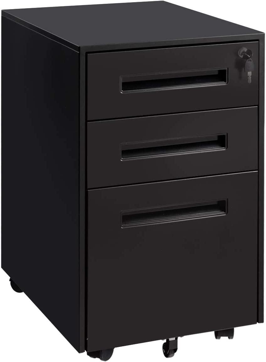 Giantex 3-Drawer Mobile File Cabinet with Lock Key Sliding Drawer for 5 Rolling Casters Metal Storage, A4 File Storage Black