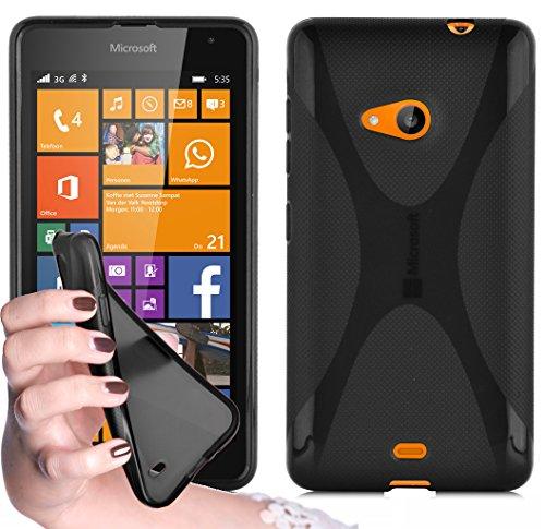 Cadorabo - TPU X-line Style Silikon Hülle für Nokia Lumia 535 - Case Cover Schutzhülle Bumper in OXID-SCHWARZ