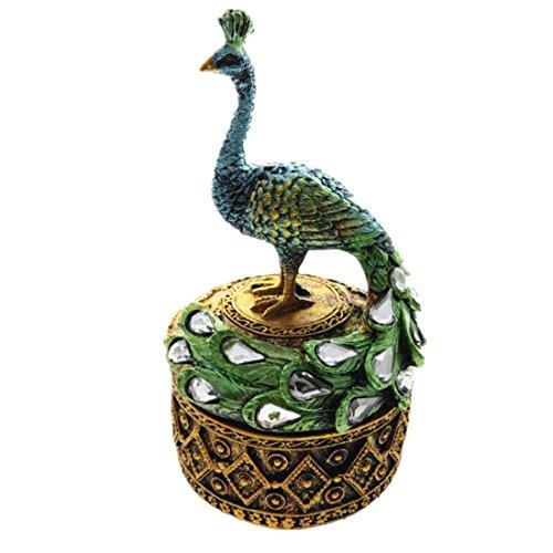 Trinket box Resin Craft Peacock Jewelry Box Ornament Jewelry Animal Figurine (Jewelry Peacock)