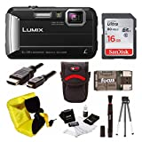 Panasonic Lumix DMC-TS30 Digital Camera (Black) with 16GB Accessory Bundle