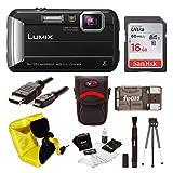 Panasonic Lumix DMC-TS30 Digital Camera (Black) with 16GB Accessory Bundle