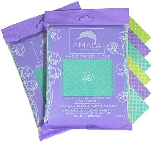 Magic Sponge Cloth by Amala, (6-Pack), 100% Natural, Dish Cloth, 100% Biodegradable, 100% Vegan, Non-GMO