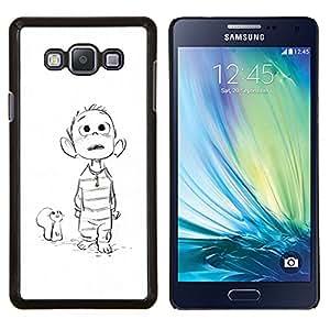 Ratón Dibujo bosquejo blanco Boy Película - Metal de aluminio y de plástico duro Caja del teléfono - Negro - Samsung Galaxy A7 / SM-A700
