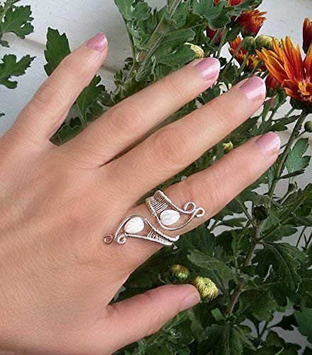 (Silver Ring Handmade - Wire Wrapped Ring - Mother of Pearl Ring - Gift Ideas for Women)