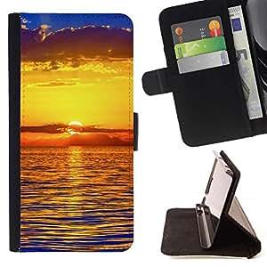 Momo Phone Case / Flip Funda de Cuero Case Cover - Puesta de sol Mar Beautiful Nature 22 - Samsung Galaxy S5 Mini, SM-G800