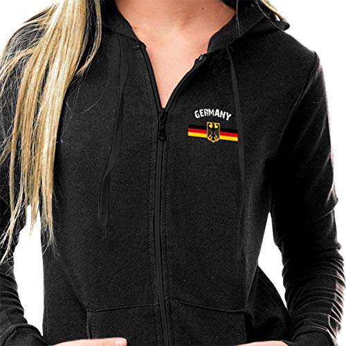 Adult Full Zip Long Sleeve Casual Hooded Sweatshirt Top, Women's Hoodies Pullover, Lightweight Thin Hooded Sportswear - Retro German Flag with The German Eagle