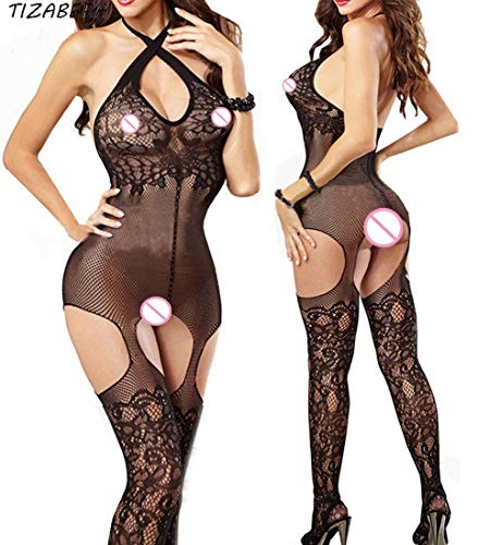Women Tights Sexy Lingerie Hot Erotic Fishnet Pantyhose Hollow Out Women Stockings Plus Size Body StockingsTransparent (ss5) ()