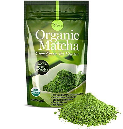 Organic Matcha Green Tea Powder - 100% Pure Matcha (No Sugar Added - Unsweetened Pure Green Tea - No Coloring Added Like Others) 4oz