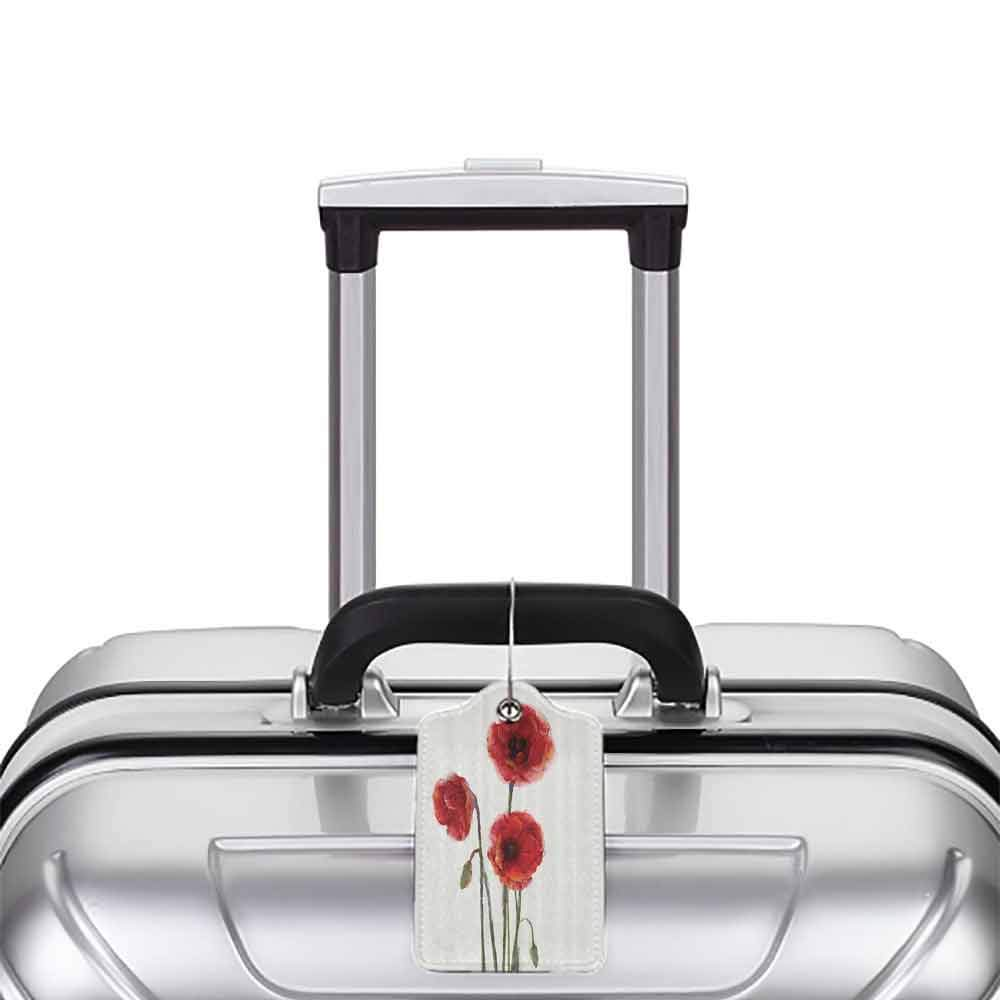 Durable luggage tag Watercolor Flowers Decor Collection Poppy Flowers Blooms with Watercolor Painting Effect Unisex White Red Green W2.7 x L4.6