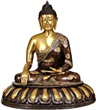 CraftVatika 29 Inches Large Brass Buddha Statue Earth Touching Pose Unique Thai Buddhism Big Sculpture- Bhumisparsha Mudra Idol