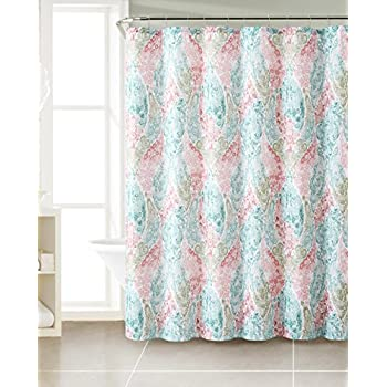 Amazon.com: Dobby Fabric Shower Curtain: Paisley Floral Design ...