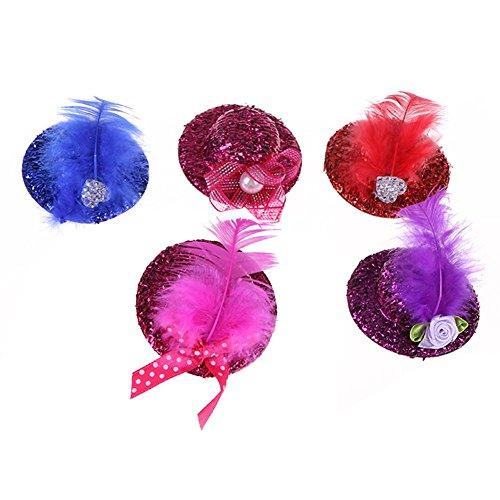5pcs Pet Cat Dog Hairpin Caps Bowknot Design Hair Clips Feather Headdress Hair Accessories