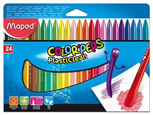 Plastic Crayons - Color'Peps Plasticlean Plastic Crayons, Pack of 24 (862049)