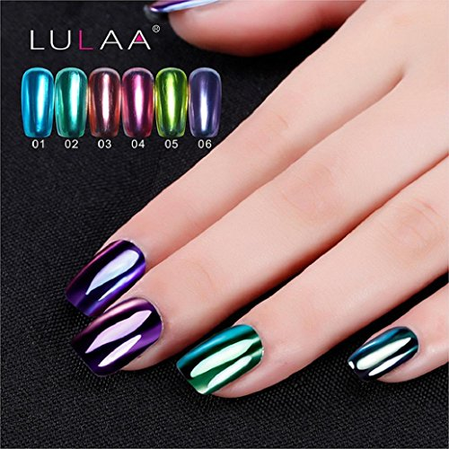 Hot Nail Art! AMA(TM) Mirror Effect Nail Polish Plating Silver Paste Metal Multi-color Mirror Base Coat Nails Art Varnish Manicure (Green)