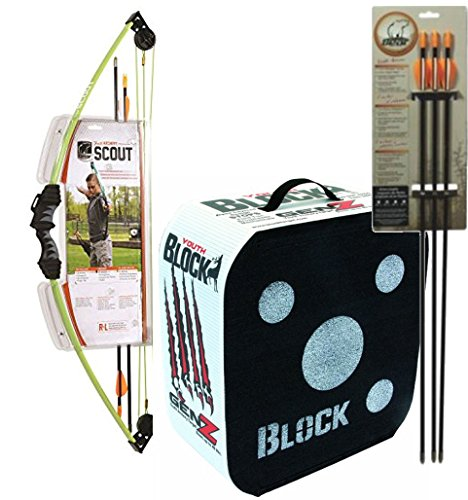 Bundle Includes 3 Items - 1004815 Bear Archery Scout Bow Set Flo Green and Block GenZ Youth Archery Arrow Target and Bear Archery Youth Safetyglass Target Arrows (3 per card), 26-Inch