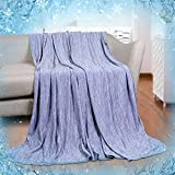 Cooling Blanket 51 X 67 inches Twin Sized Blanket Japanese Q-Max 0.4 Technology Mica Nylon with Cooling Fibers MaterialBlanket for Adults Children Babies. Keep Cooling in Summer Night- Blue
