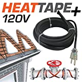 "Warmall 50 Feet Heavy Duty Heat Tape + Plug-in Self-Regulating Cable 120 Volt with 48"" Lead and Plug"