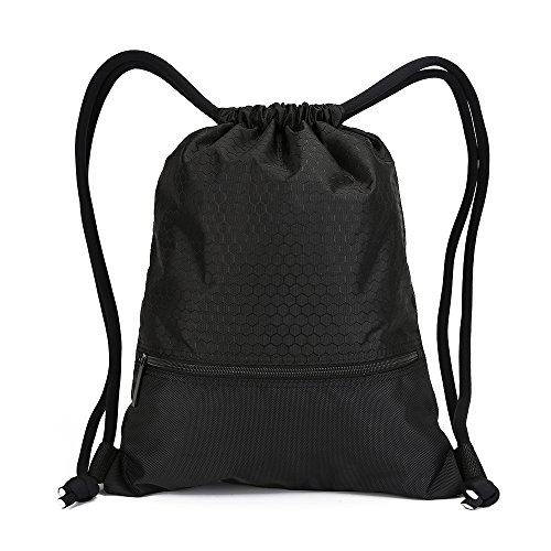 - Double Sturdy Drawstring Bag With Pockets Waterproof | For Gym Sports & Workout Gear | Large Capacity String Backpack | 8 Colors