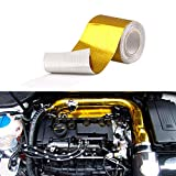 """Sporacingrts 2"""" x16.4'(5M) Gold Adhesive Backed Heat Barrier Tape,Glassfiber Heat Shield Reflective Tape Wrap Roll,for Car Intake Pipe,Engine Bay etc."""