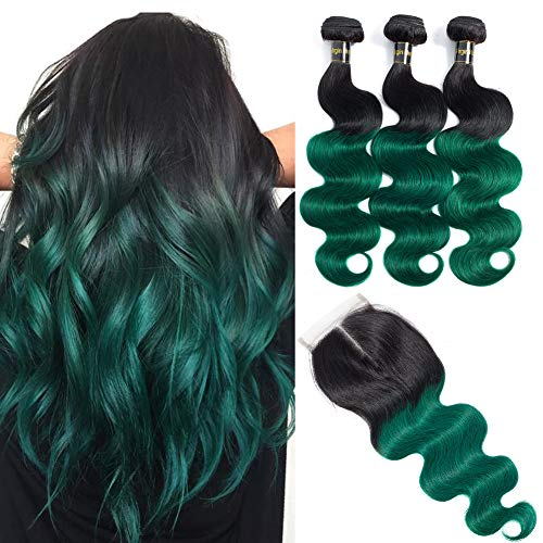 Green Bundles with Closure (18 20 22 with 16) 10A Brazilian Remy Hair Body Wave Human Hair Bundles with Closure 2 Tone Ombre Hair Black to Green