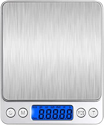 BENGOO 3000g Pocket Digital Scale Stainless Steel Kitchen Food Scale with LCD Display, Tare, Hold and PCS Features-Silve