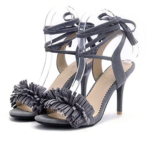 Stringate Il Partito Nappa Sandali Tacco Tacchi Alto Cinturino Con Aiweiyi Del Frangia Womens Promenade Grigio 7nCv45qxw