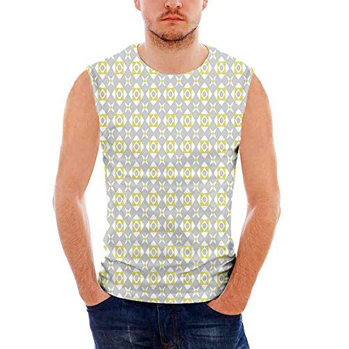 iPrint Mens Performance Muscle T- Shirts Grey and Yellow,Tile Inspired Squares Rounds