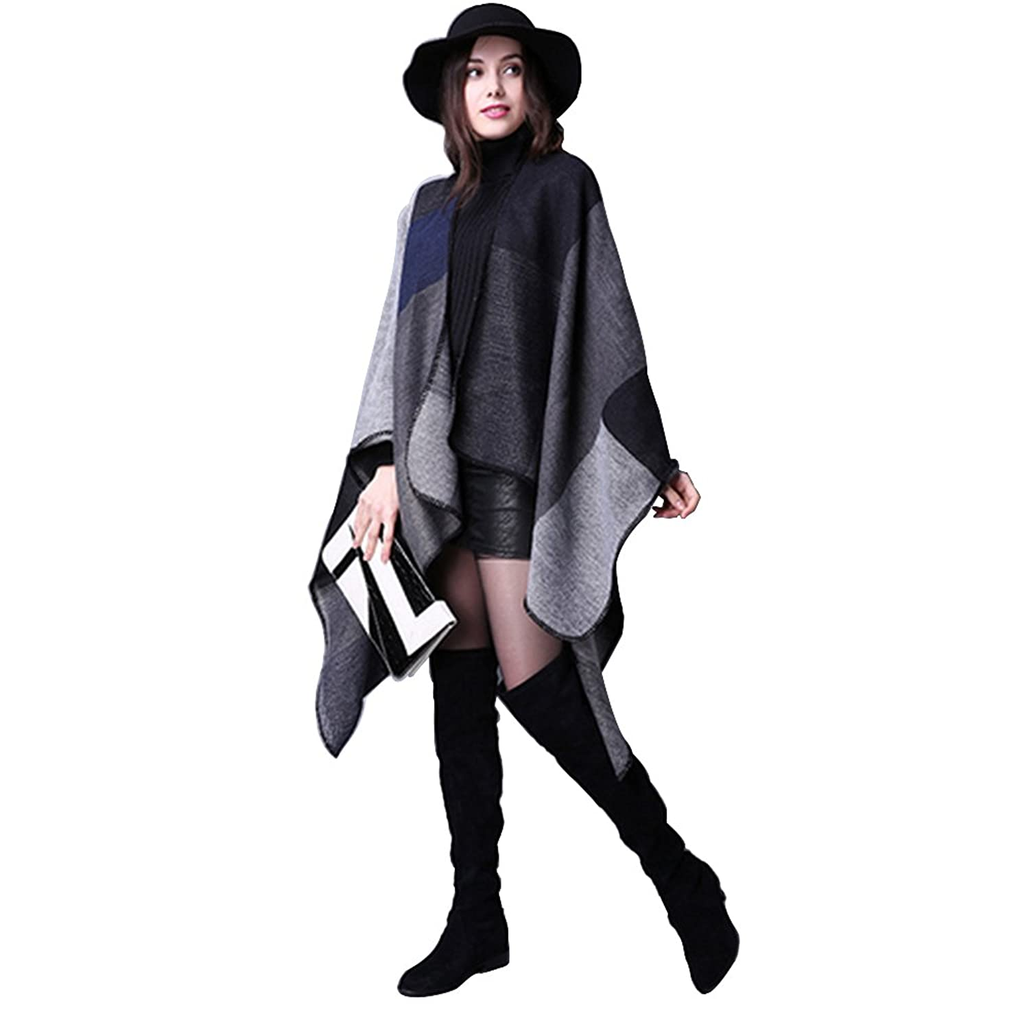 Winter Shawl - VESIPA Thicker Cardigans, Reversible Oversized Blanket, Poncho, Cape, Scarf, Long Cozy Coat for Women Girl