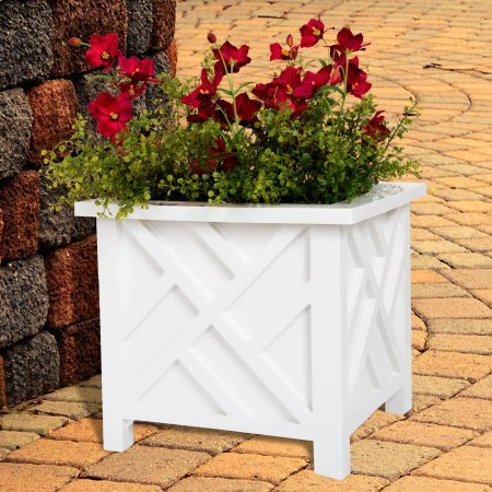 Plant Holder – Planter Container Box for Garden, Patio, and Lawn – Outdoor Decor by Pure Garden – White (Pack of 4)
