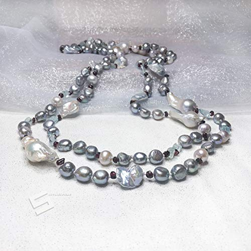 - Multi Sized Real Pearls And Gemstones Necklace, Baroque Pearls With Natural Aquamarine And Garnet 63